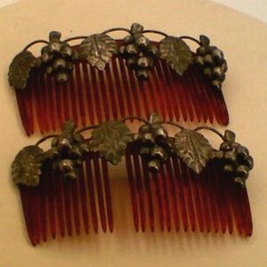 Pair of Vintage Antique Silver Comb Red Fruit Leaf